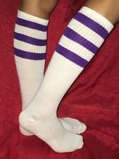 Old School Tube Socks Under KNEE HIGH PURPLE/WHITE Striped Pattern Women's 9-11