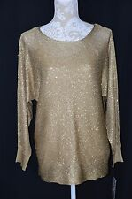 Alfani Womens Medium Gold Sequined Sweater Tank Set NEW Loose Fitted Shirt