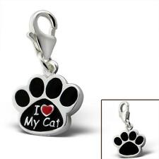925 Sterling Silver I Love My Cat Paw Shaped Animal Pet Charm Bead Gift Boxed