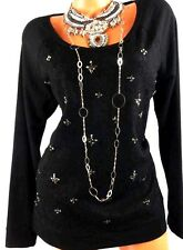 MAURICES BLACK GOTH LACE OVERLAY EMBELLISHED DECOR LONG SLEEVE KNIT TOP 1, 1X