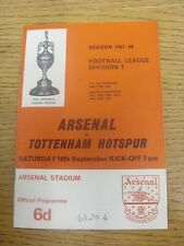 16/09/1967 Arsenal v Tottenham Hotspur  (Light Fold, Attendance Noted on Cover &