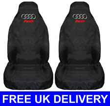 BLACK CAR SEAT COVERS PROTECTORS PAIR x2 WATERPROOF - FITS AUDI A3
