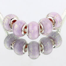 Purple snow 5pcs MURANO glass bead LAMPWORK fit European Charm Bracelet