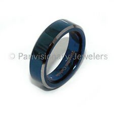 Tungsten Carbide Ring  Blue IP Polished Flat Bevel Edge 6mm Wedding Band size 8
