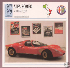 1967 1968 1969 Alfa Romeo Stradale 33/2 Car Photo Spec Sheet Info French Card