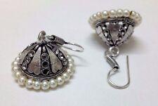 Silver Oxidized Earring Tribal Jhumka Bali Jewelry Antique Hook Dangle Drop - 18