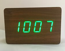 Block - The Wooden LED Clock - Brown with Green LED