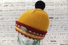 DIESEL Pom Pom Beanie K-NASSER BERRETTO Hat Gold/Red Wool mix Caps BNWT RRP£50