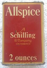 VINTAGE 1933 SCHILLING TIN/ALLSPICE 2 OZ/A SCHILLING & COMPANY, SAN FRANCISCO.