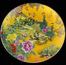 Chinese Colorful porcelain Hand-Painted plate peacock&flowers Mark RR21