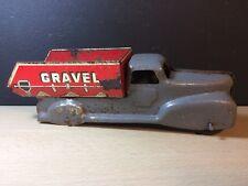 Marx Vintage Pressed Steel Gravel Sand Truck Red Grey Missing Wheel