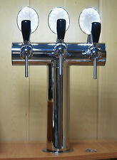 NEW! Beer Tap Faucet Draft  3 Lines Stainless Steel Tower Kegerator Lights Logo