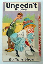 UNEEDNT RUBBER COMIC POSTCARD MAN STARRING AT BEAUTIFUL WOMAN BENDING OVER #232