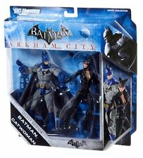 "DC Comics ARKHAM CITY BATMAN & CATWOMAN 6""  video game figures set NICE!"