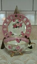 Vintage 3 Footed Tea Cup Iridescent w Rose's & Gold Gilding Reticulated Saucer