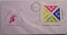 Stadspost Amsterdam 1970 - FDC met blok Dag van de Postzegel (Triangle)