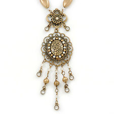 Victorian Style Filigree Oval Beaded Pendant With Chunky Chain In Antique Gold T