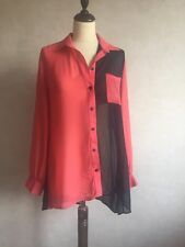 Pink & Black Chiffon Long Shirt Blouse Button Up Too Size 12 Ladies