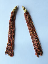 VINTAGE 2 METAL CHAIN FRINGE TASSEL PENDANTS COPPER BRASS LONG 6 inches