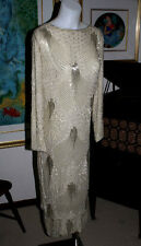 "Hollywood ""Red Carpet"" Beaded Crystals on Silk Full Length GOWN, Size 10-12"