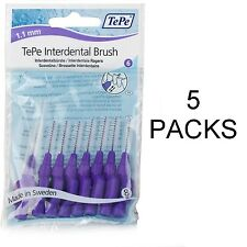 TePe Interdental Brushes 1.1mm PURPLE 5 PACKETS !