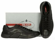 NEW PRADA BLACK LEATHER LOGO LACE-UP CASUAL DRIVER SNEAKERS SHOES 9/US 10