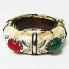 VINTAGE FLORAL GENUINE BONE SILVER TRIM STATEMENT BANGLE BRACELET