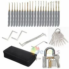 New 24Pcs Lock Opener Kit Practice Padlock Locksmith Pick Torsion Tools Set Kit