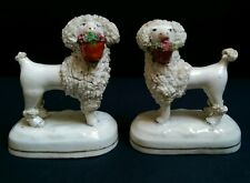 Antique Pair of Staffordshire Poodles Holding Baskets c.1845