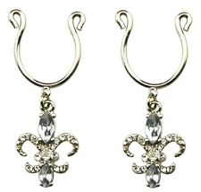 Nipple Ring Bars CZ Fleur De Lise Non Pierce Body Jewelry Pair