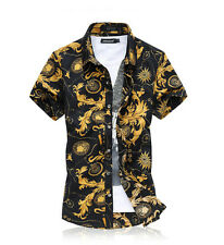 Men Flower Floral Pattern Shirts Summer Paisley Retro Short Sleeve Shirts