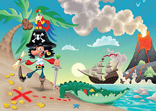 "PIRATE AND PARROT ""PIRATES "" Wall Mural photo Wallpaper for kids room Nursery"