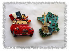 Lot de 2 Aimants Magnets Carte de France Tour Effeil  2 CV Rouge Résine Neufs