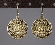 "antiqued gold earrings medallion coin dangle drop 1.25"" long lightweight"