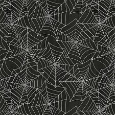 Fabric Halloween Spider Webs Gray on Black Cotton by the 1/4 yard BIN