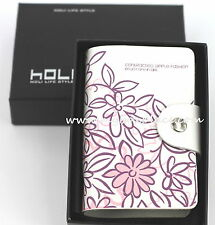 Pink & Purple Floral Genuine Leather Business Credit Licence Card Holder Wallet