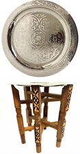 "Moroccan Tea Folding Table Engraved Polished Silver Tray Top Star of David 13""Ø✡"
