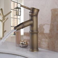 Antique Brass Finish Single Handle Waterfall Bathroom Basin Sink Faucet Mixer