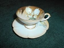 R S GERMANY LOVELY WHITE IRIS CUP & SAUCER