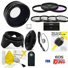 CANON EOS T3 T3I T5 T5I SL1 WIDE ANGLE LENS + FILTERS + LENS HOOD +USB READER