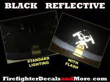 REFLECTIVE BLACK   Reflects White  Firefighter Decals & More Skull & Axes Logo