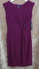 NEW Chaps Purple Sheath Sleeveless Dress Body Conscious With Stretch Size Small