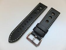 24MM Black Genuine Leather Pilot Racing Watch band, Strap 3 Big holes, Solid bkl