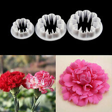 3Pcs Carnation Flower Cake Fondant Sugarcraft Mold Cutter Gum Paste Tools Mold