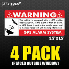 GPS 4 pk 3.5x1.5 Anti Theft STICKERS Vehicle Security Vinyl Alarm Decal Car