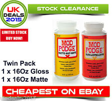 Mod Podge brillo y mate 16oz Twin Pack Pegamento Sellador Barniz Cepillo 32oz