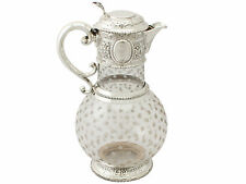 Cut Glass and Sterling Silver Mounted Claret Jug - Antique Victorian