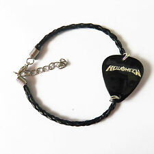 HELLOWEEN LEATHER BRAIDED guitar pick plectrum medium  BRACELET 7""