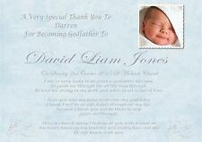 Personalised A4 Thank You For being My Godfather keepsake gift , blue