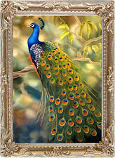 PEACOCK PORTRAIT Dollhouse Picture - Miniature FRAMED Art - MADE IN AMERICA